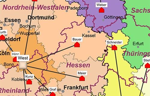 Postleitzahlenkart Gebiete planen