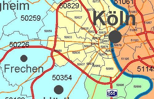 Postleitzahlenkarte Standorte darstellen
